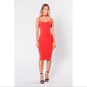 Fashion Nova Red Choker Dress